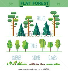 Set of different trees, rocks, grass. Sprites for the game. vector flat forests illustrations - stock vector