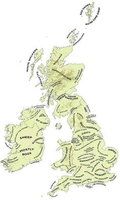 Definitive Stereotype Map Of Britain And Ireland The Definitive Stereotype Map Of Britain And Ireland- pretty funny & I'm sure greatly exaggerated!The Definitive Stereotype Map Of Britain And Ireland- pretty funny & I'm sure greatly exaggerated! British Things, British People, Map Of Britain, Great Britain, British Humor, British History, British Isles, The Funny, Vintage World Maps