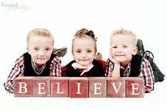 christmas photo. Love the idea of the believe blocks.