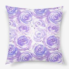 Violet roses illustration pillow