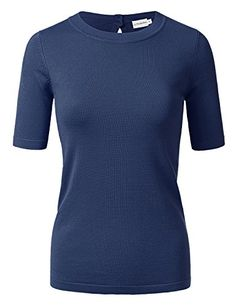 JJ Perfection Women's Short Sleeve Sweater Top With Back Keyhole Closure