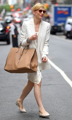 Cate Blanchett looked chic in a minimalist white tailored look in New York.