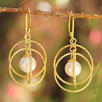 Gold vermeil cultured pearl dangle earrings, 'Lanna Enigma'