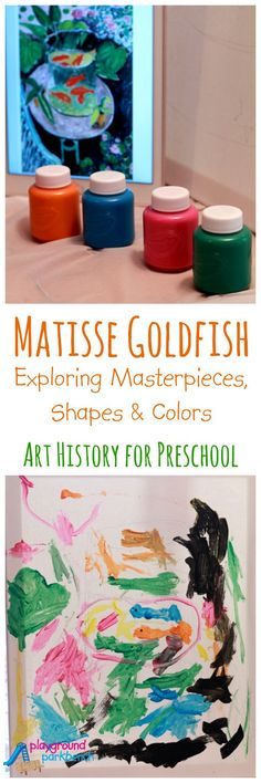 Our Art History for Preschool series continues, exploring Matisse's Goldfish masterpiece by breaking it down into basic shapes and colors, for reproduction by even the youngest of artists!