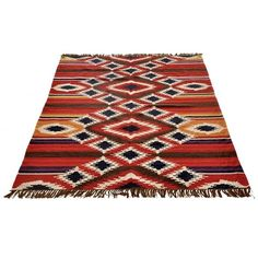 Kilim Delux RO-12-6093/200 Red Rugs ($465) ❤ liked on Polyvore featuring home, rugs, bright red rug, hand woven wool rugs, red rugs, wool kilim rugs and red wool rug
