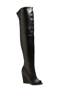 BCBG MAXAZRIA BCBGMAXAZRIA 'Deanna' Over the Knee Leather Peep Toe Boot (Women) available at #Nordstrom
