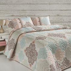 Sada prešívanej prikrývky na posteľ a 2 obliečok na vankúš Andalucia Turquoise, 200x220 cm