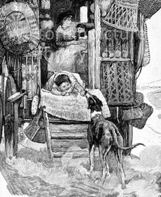 Gypsy caravan. Victorian illustration showing a picture of a gypsy (Romany) mother and children travelling in a caravan. A toddler, who is tied to the door with a rope, pets a lurcher dog following them; inside, a mother sits with her baby on her lap. Baskets are hung outside. Download high quality jpeg for just £5. Perfect for framing, logos, letterheads, and greetings cards.