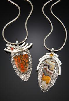 Franki Martin incorporates designer custom cut cabochons, minerals, fossils and . - Franki Martin incorporates designer custom cut cabochons, minerals, fossils and semi-precious stone - Metal Clay Jewelry, Stone Jewelry, Pendant Jewelry, Jewelry Art, Silver Jewelry, Jewelry Design, Silver Ring, Silver Earrings, Geek Jewelry