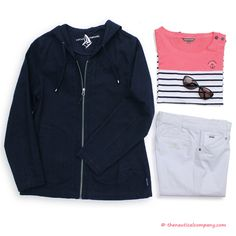 Nautical relaxed look with #Breton stripes - coral block, women's navy canvas jacket & white trousers #nauticalfashion