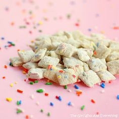New take on the puppy chow! Cake Batter Muddy Buddies: Melt 10 oz. vanilla almond bark, thin with vegetable oil if needed.  Pour over 5 cups of Rice Chex stirring thoroughly.  Shake on some sprinkles.  Mix 3/4 c. yellow cake batter an 1/4 c. powdered sugar.  Put in a large bag with Cereal and shake until it is well coated. Pour cereal into a container and seal.  Discard excess powder mix.