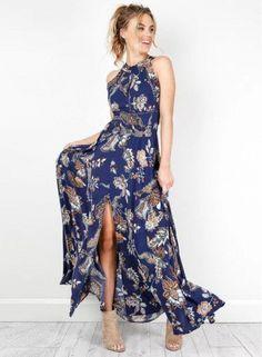 f0360f30b1b Halter Sleeveless Backless Split Floral Printed Maxi Bohemian Dress -  AZBRO.com