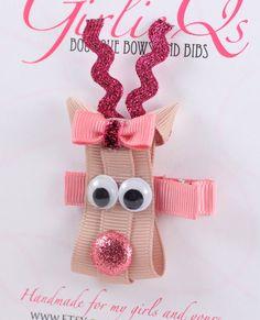 Pink Girl Reindeer Christmas Hair Clip -