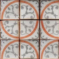Gray, coral, off white. Accent tile idea