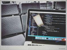 Code @ train #code #microsoft #mac #web #developer #train #tren #renfe #rod2 #javascript #js #rodalies #nodejs #html #angular #tech #computer #macbook #screen #travel