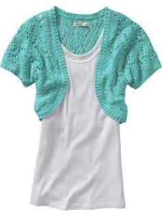 women's crocheted shrug in flight of fancy. 100% cotton