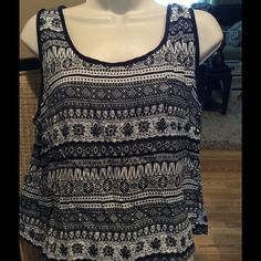 """Printed Back Button Tank in Navy It's a very dark navy blue not black. 100% rayon moss crepe. Large  is 21"""" down and . 18"""" across Tops Tank Tops"""