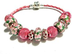 european beads leather bracelet lampwork beads pink green