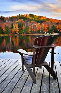 Calm Lake in Autumn Thanksgiving Card. A peaceful setting of an Adirondack chair overlooking a glorious display of fall's best colors send Happy Thanksgiving greetings to family and colleagues. Gold lined white envelope. Belle Photo, The Great Outdoors, The Good Place, Perfect Place, Cool Pictures, Beautiful Places, Scenery, Relax, Around The Worlds