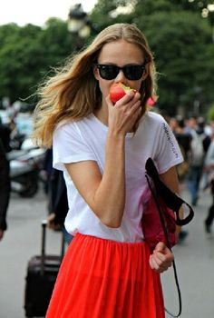 White T shirt & red skirt