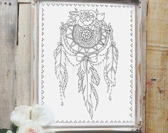 Adult Coloring Book - Floral Tattoo - Gold Foil Cover - 44 Pages on Thick Paper - Beautiful Gift under 50 - Artist Quality Tattoo Sketchbook Dream Catcher Coloring Pages, Flower Coloring Pages, Colouring Pages, Adult Coloring Pages, Coloring Books, Dream Catcher Sketch, Dream Catcher Tattoo, Lace Dream Catchers, Mandala Design