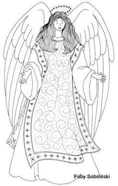 O mundo colorido: 200 Figuras, imagens, moldes e desenhos de anjos! Colorir pintar-Parte 2