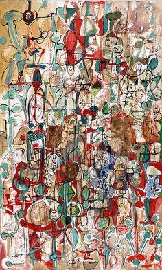GEORGE CONDO - Mother Earthquake - Collage formato da piccoli frammenti di carta incollati su tela, disegni, appunti, colori, minuscole figure di uomini e di donne, insetti, occhi allarmanti di uccelli notturni, ragnatele. #reggiadicaserta