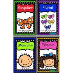 Affiches genre et nombre Le Genre, Noms, French Lessons, Maths, Classroom Ideas, Teacher, Education, Future, French Tips