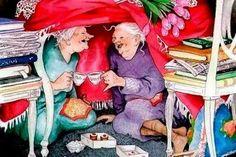 Wenn ich alt bin, will ich Menschen an meiner Seite haben, deren Verstand junggeblieben ist Kaffeeklatsch Old Lady Humor, Enjoying The Small Things, Photo Mosaic, Best Mysteries, Lucky Ladies, Norman Rockwell, Love Book, Getting Old, Old Women