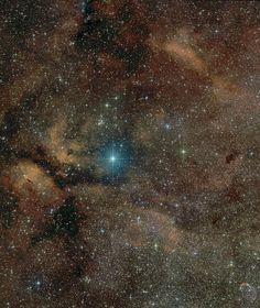 Supergiant star Gamma Cygni lies at the center of the Northern Cross, a famous asterism in the constellation of the Swan (Cygnus). Known by the proper name Sadr, the bright star also lies at the center of this gorgeous skyscape, featuring a complex of stars, dust clouds, and glowing nebulae along the plane of our Milky Way galaxy. The field of view spans over 3 degrees (six Full Moons) on the sky and includes emission nebula IC 1318 and open star cluster NGC 6910.