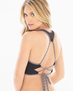 0d608c91ec0dd  50) Profile Blush By Gottex Desert Palm High Neck Mesh Bikini Swim Top   swimsuit  swimwear  summer  shopping  gifts  party  top  back