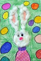 Easter.  Start with circle, add shirt, ears and egg background.  Finish with cotton balls, googly eyes and pom pom nose.