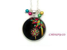 Collier sautoir cabochon * arbre multicolore * argenté perles bijou fantaisie : Collier par choupy-co