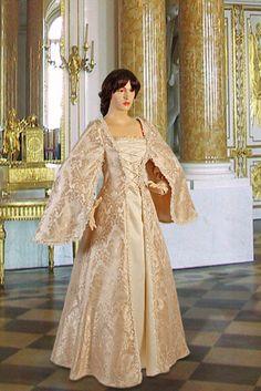 Renaissance Dress No. 7 Cream, Gold - 167.00USD - Medieval and Renaissance Clothing, Handmade by Your Dressmaker