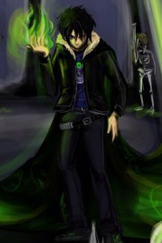 Nico di Angelo. This is just an awesome pic of him and I'm not really sure about the fire thing though.