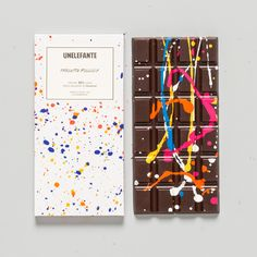 Pollock Chocolate Bar – The Colossal Shop...OK this gives me inspiration...a white chocolate - take a brush with melted chocolate - create paint splatters...cool