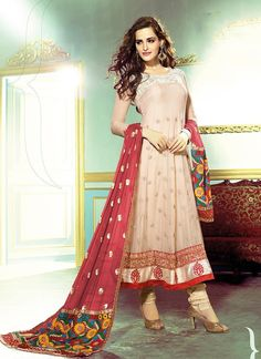 Peach Georgette And Net Anarkali Churidar Kameez
