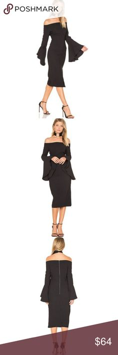 Bardot Dress 10  Black Off Shoulder Solange L NEW Bardot Dress 10 Large Black Off Shoulder Solange Pencil Cocktail Bell Sleeve NEW without tags Total length is 43 inches unstretched.  Bust is 40 inches, unstretched D29 Bardot Dresses