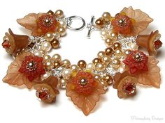 Crème Caramel Floral Crystal Pearl Cluster by whimsydaisydesigns, $36.00