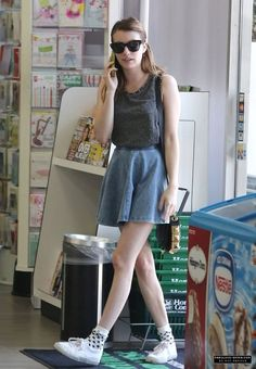 Who made Emma Roberts gray studded tank top, denim skirt, studded handbag, and white sneakers that she wore in Los Angeles on March Emma Roberts Style, Summer Outfits, Cute Outfits, Mein Style, Spring Summer Fashion, Celebrity Style, Celebs, Short Celebrities, Style Inspiration