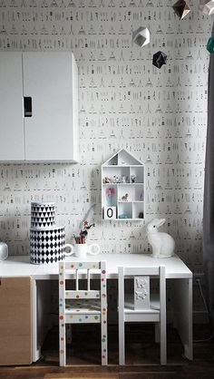 kidsroom. ferm living wallpaper, ikea stuva cupboard