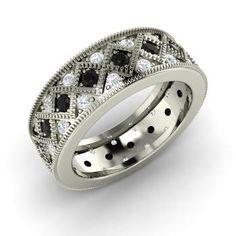 Round Black Diamond Ring in 14k White Gold with SI Diamond