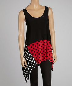 Another great find on #zulily! Black & Red Polka Dot Sidetail Tank - Women & Plus by Sole Dione #zulilyfinds