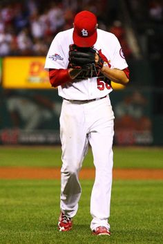Joe Kelly walks off of the field at the end of the sixth inning against the Los Angeles Dodgers during Game 1 of the NLCS. Cards won the game 3-2 in the 13th. 10-11-13