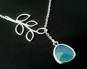 Branch with Turquoise Lariat Necklace - bridesmaid gifts, birthday gift, Mom and sister gift,flower girl,anniversary gift. $22.50, via Etsy.