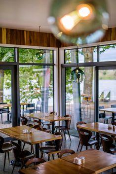 :: PODIUM CAFE :: 'Podium Cafe' - Karapiro Lakeside rustic cafe in Cambridge, NZ. World class rowing venue. Rustic Cafe, Commercial Architecture, Rowing, Cambridge, Design Ideas, Exterior, Windows, Interior Design, Projects