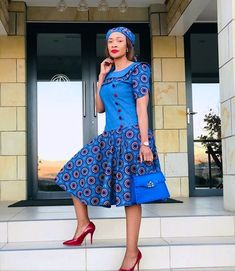 The Best woman Shweshwe Dresses 2020 African Wear Dresses, African Fashion Ankara, Latest African Fashion Dresses, African Print Fashion, African Attire, Xhosa Attire, South African Traditional Dresses, Traditional Outfits, Shweshwe Dresses