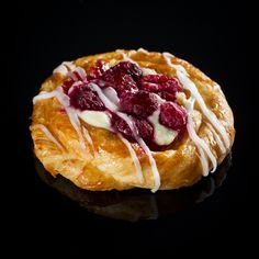 Raspberry Danish with topped off with fondant icing.