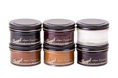 Cordovanpflege , die Cordovanpomade von Burgol  erhältlich in 5 Farben + farblos,  Schwarz, Bordeaux, Mittelbraun, Hellbraun und Dunkelbraun.