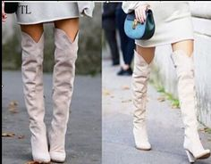 112.44$  Watch here - http://alie7m.worldwells.pw/go.php?t=32790835745 - 2017 Newest Arrival Over The Knee High Thick Spike Heels Shoes Women White Suede Leather Round Toe Fashion Winter Women Boots 112.44$